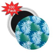 Palm Trees Tropical Beach Coastal Summer Blue Green 2 25  Magnets (100 Pack)