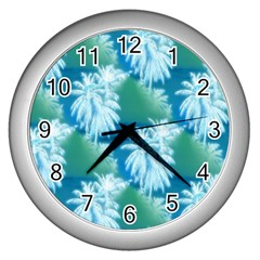 Palm Trees Tropical Beach Coastal Summer Blue Green Wall Clocks (silver)