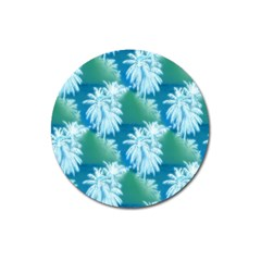 Palm Trees Tropical Beach Coastal Summer Blue Green Magnet 3  (round)