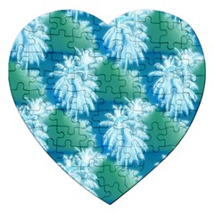Palm Trees Tropical Beach Coastal Summer Blue Green Jigsaw Puzzle (heart) by CrypticFragmentsColors