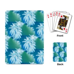 Palm Trees Tropical Beach Coastal Summer Blue Green Playing Card