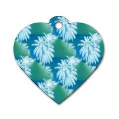 Palm Trees Tropical Beach Coastal Summer Blue Green Dog Tag Heart (one Side)