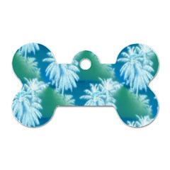 Palm Trees Tropical Beach Coastal Summer Blue Green Dog Tag Bone (two Sides)