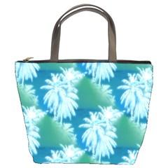 Palm Trees Tropical Beach Coastal Summer Blue Green Bucket Bags