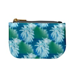 Palm Trees Tropical Beach Coastal Summer Blue Green Mini Coin Purses