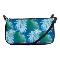 Palm Trees Tropical Beach Coastal Summer Blue Green Shoulder Clutch Bags by CrypticFragmentsColors