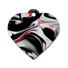 Pink And Black Smokey Design By Kiekie Strickland Dog Tag Heart (two Sides)