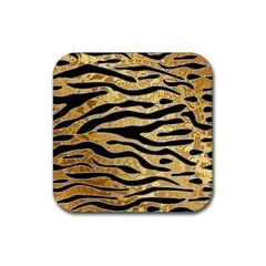 Golden Vector Embossed Golden Black Zebra Stripes Rubber Coaster (square)  by flipstylezdes