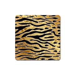 Golden Vector Embossed Golden Black Zebra Stripes Square Magnet