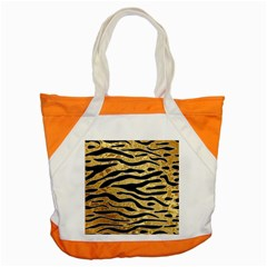 Golden Vector Embossed Golden Black Zebra Stripes Accent Tote Bag
