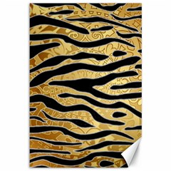 Golden Vector Embossed Golden Black Zebra Stripes Canvas 12  X 18   by flipstylezdes