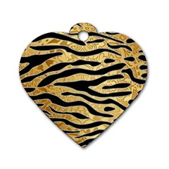 Golden Vector Embossed Golden Black Zebra Stripes Dog Tag Heart (two Sides)