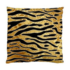 Golden Vector Embossed Golden Black Zebra Stripes Standard Cushion Case (one Side)