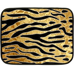 Golden Vector Embossed Golden Black Zebra Stripes Double Sided Fleece Blanket (mini)