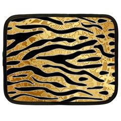 Golden Vector Embossed Golden Black Zebra Stripes Netbook Case (xl)