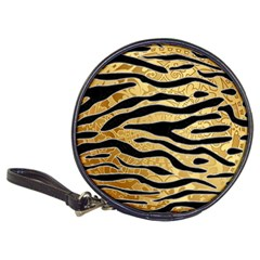 Golden Vector Embossed Golden Black Zebra Stripes Classic 20 Cd Wallets by flipstylezdes