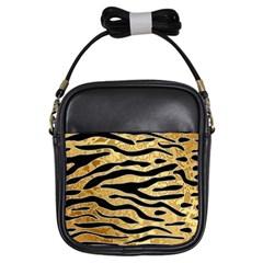 Golden Vector Embossed Golden Black Zebra Stripes Girls Sling Bags