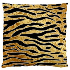 Golden Vector Embossed Golden Black Zebra Stripes Large Flano Cushion Case (one Side) by flipstylezdes