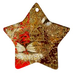 Artistic Lion Red And Gold By Kiekie Strickland  Ornament (star)