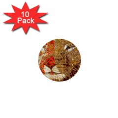 Artistic Lion Red And Gold By Kiekie Strickland  1  Mini Buttons (10 Pack)