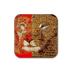 Artistic Lion Red And Gold By Kiekie Strickland  Rubber Coaster (square)  by flipstylezdes