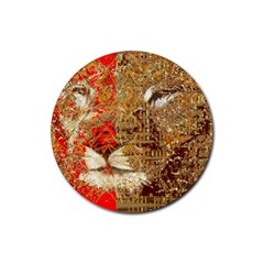 Artistic Lion Red And Gold By Kiekie Strickland  Rubber Round Coaster (4 Pack)