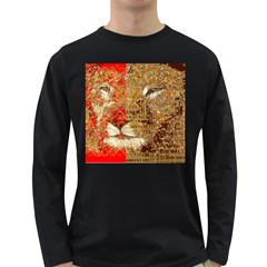 Artistic Lion Red And Gold By Kiekie Strickland  Long Sleeve Dark T Shirts