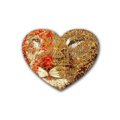 Artistic Lion Red And Gold By Kiekie Strickland  Rubber Coaster (heart)
