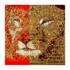 Artistic Lion Red And Gold By Kiekie Strickland  Medium Glasses Cloth (2 Side)