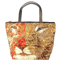 Artistic Lion Red And Gold By Kiekie Strickland  Bucket Bags by flipstylezdes