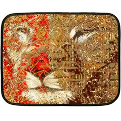 Artistic Lion Red And Gold By Kiekie Strickland  Fleece Blanket (mini)