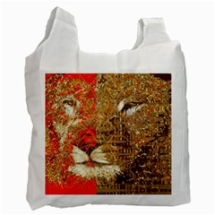 Artistic Lion Red And Gold By Kiekie Strickland  Recycle Bag (two Side)
