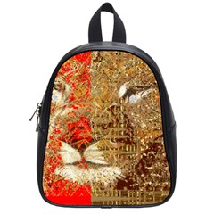 Artistic Lion Red And Gold By Kiekie Strickland  School Bag (small)
