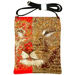 Artistic Lion Red And Gold By Kiekie Strickland  Shoulder Sling Bags by flipstylezdes