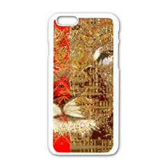 Artistic Lion Red And Gold By Kiekie Strickland  Apple Iphone 6/6s White Enamel Case by flipstylezdes
