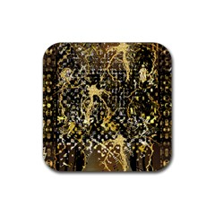 Retro Design In Gold And Silver Created By Kiekie Strickland Flipstylezdesigns Rubber Coaster (square)  by flipstylezdes