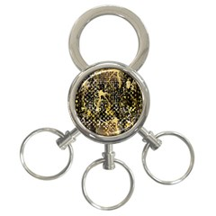 Retro Design In Gold And Silver Created By Kiekie Strickland Flipstylezdesigns 3 Ring Key Chains