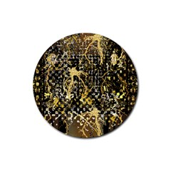 Retro Design In Gold And Silver Created By Kiekie Strickland Flipstylezdesigns Rubber Coaster (round)