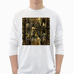Retro Design In Gold And Silver Created By Kiekie Strickland Flipstylezdesigns White Long Sleeve T Shirts