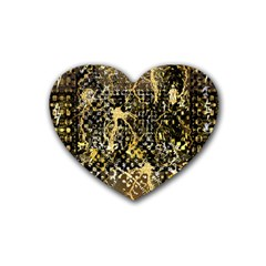Retro Design In Gold And Silver Created By Kiekie Strickland Flipstylezdesigns Heart Coaster (4 Pack)