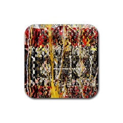 Retro Orange Black And White Liquid Gold  By Kiekie Strickland Rubber Coaster (square)  by flipstylezdes