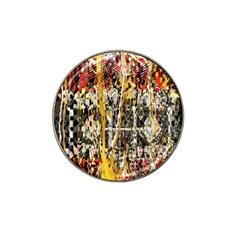 Retro Orange Black And White Liquid Gold  By Kiekie Strickland Hat Clip Ball Marker