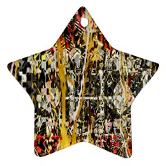 Retro Orange Black And White Liquid Gold  By Kiekie Strickland Star Ornament (two Sides)