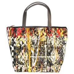 Retro Orange Black And White Liquid Gold  By Kiekie Strickland Bucket Bags