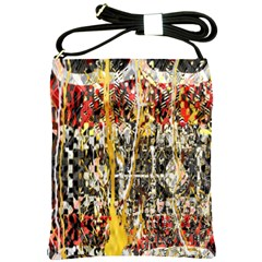 Retro Orange Black And White Liquid Gold  By Kiekie Strickland Shoulder Sling Bags