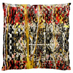 Retro Orange Black And White Liquid Gold  By Kiekie Strickland Large Flano Cushion Case (one Side) by flipstylezdes