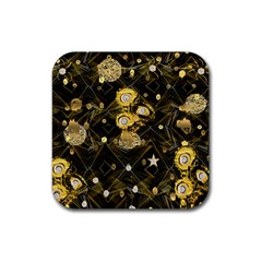 Decorative Icons Original Gold And Diamonds Creative Design By Kiekie Strickland Rubber Coaster (square)  by flipstylezdes