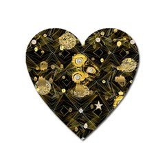 Decorative Icons Original Gold And Diamonds Creative Design By Kiekie Strickland Heart Magnet