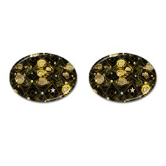 Decorative Icons Original Gold And Diamonds Creative Design By Kiekie Strickland Cufflinks (oval)
