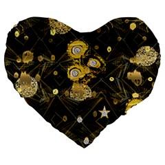 Decorative Icons Original Gold And Diamonds Creative Design By Kiekie Strickland Large 19  Premium Flano Heart Shape Cushions